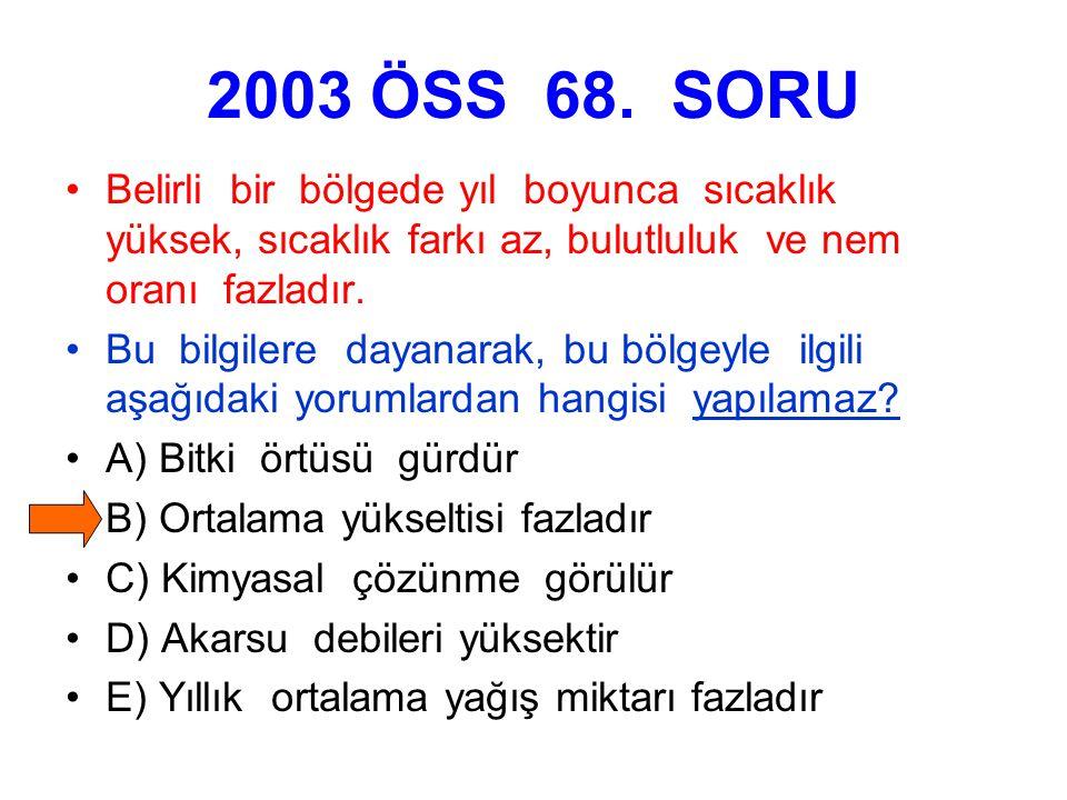 2003 ÖSS 68. SORU Belirli bir bölgede yıl boyunca sıcaklık yüksek, sıcaklık farkı az, bulutluluk ve nem oranı fazladır.
