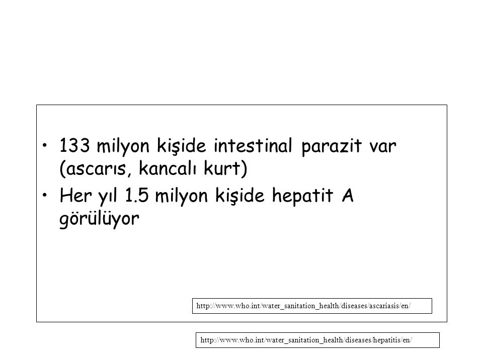 133 milyon kişide intestinal parazit var (ascarıs, kancalı kurt)