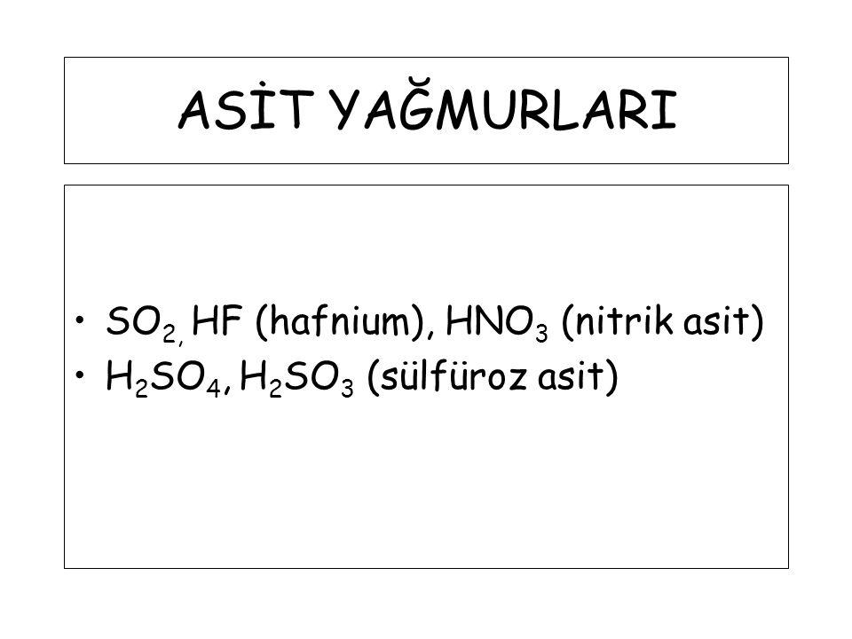 ASİT YAĞMURLARI SO2, HF (hafnium), HNO3 (nitrik asit)
