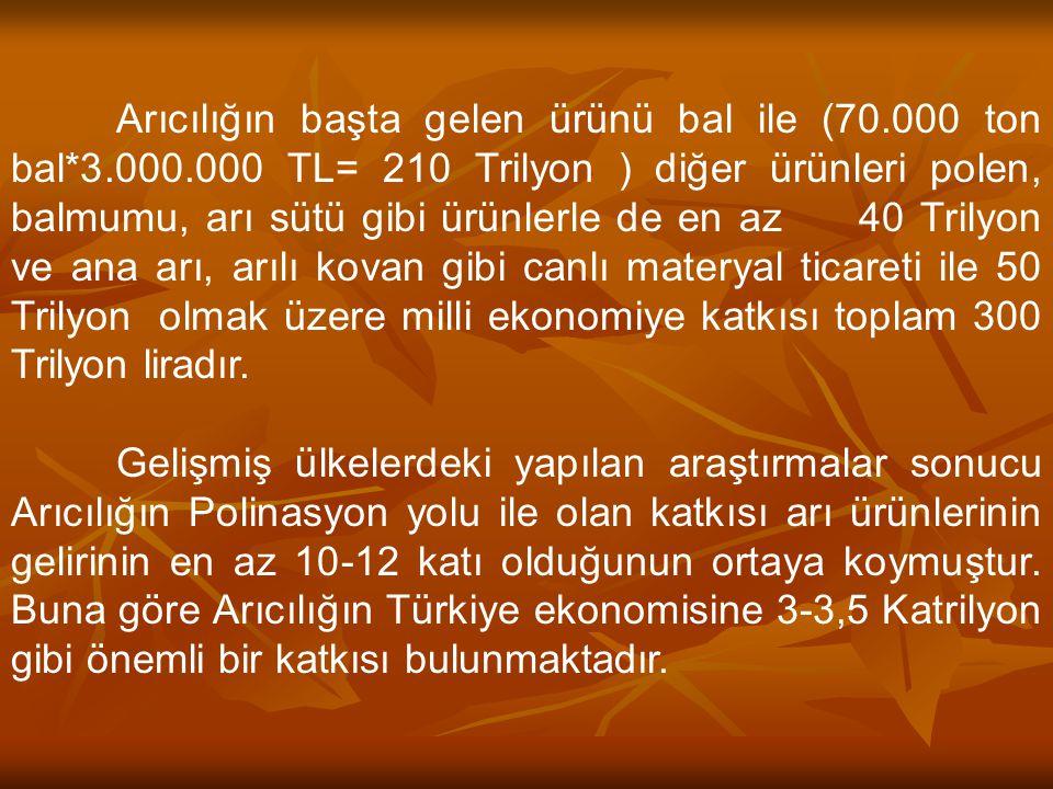 Arıcılığın başta gelen ürünü bal ile (70. 000 ton bal. 3. 000