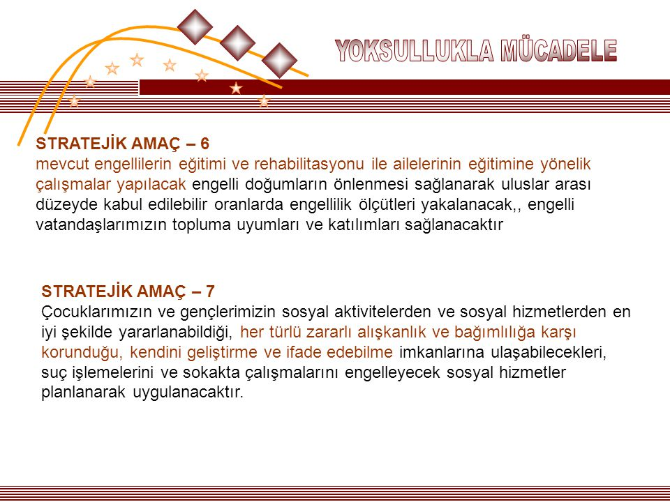YOKSULLUKLA MÜCADELE STRATEJİK AMAÇ – 6.