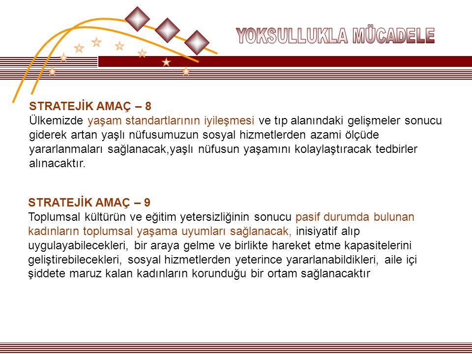 YOKSULLUKLA MÜCADELE STRATEJİK AMAÇ – 8.