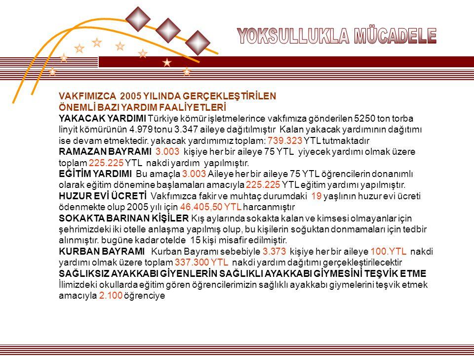 VAKFIMIZCA 2005 YILINDA GERÇEKLEŞTİRİLEN