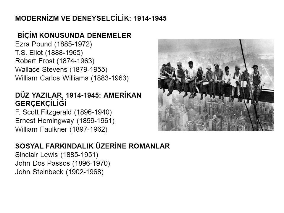 MODERNİZM VE DENEYSELCİLİK: 1914-1945