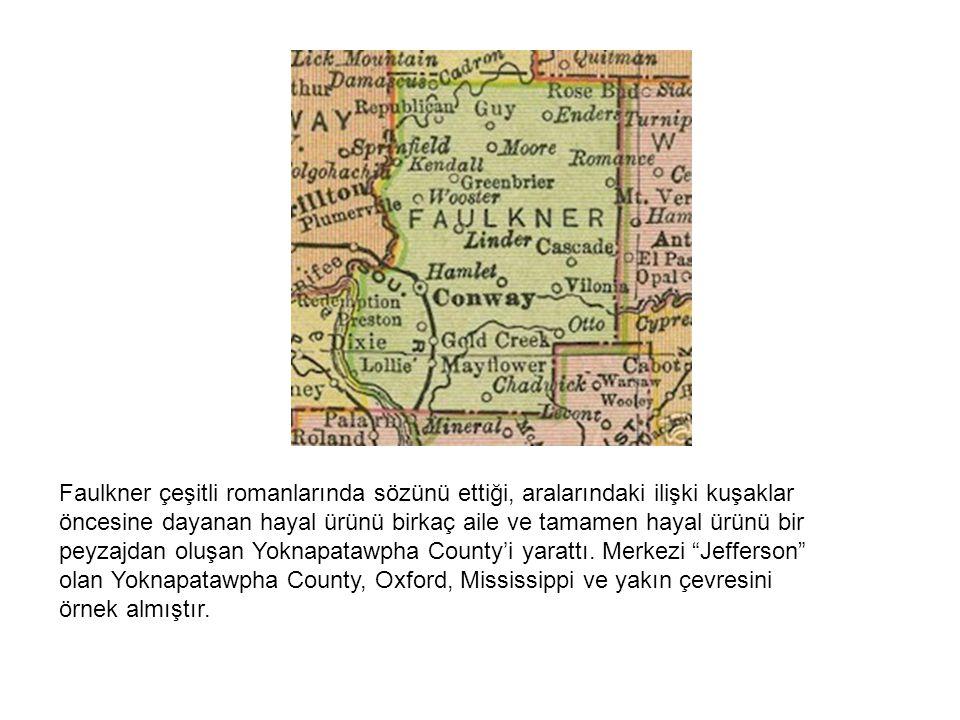 Faulkner çeşitli romanlarında sözünü ettiği, aralarındaki ilişki kuşaklar öncesine dayanan hayal ürünü birkaç aile ve tamamen hayal ürünü bir peyzajdan oluşan Yoknapatawpha County'i yarattı.