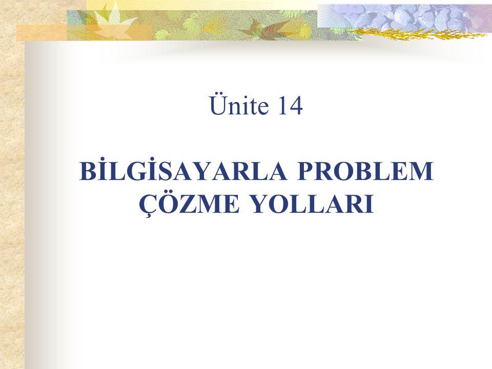 Ünite 14 BİLGİSAYARLA PROBLEM ÇÖZME YOLLARI