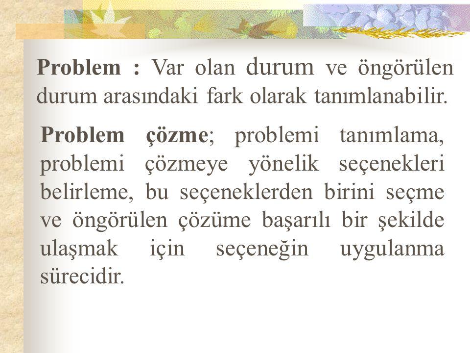 Problem : Var olan durum ve öngörülen durum arasındaki fark olarak tanımlanabilir.