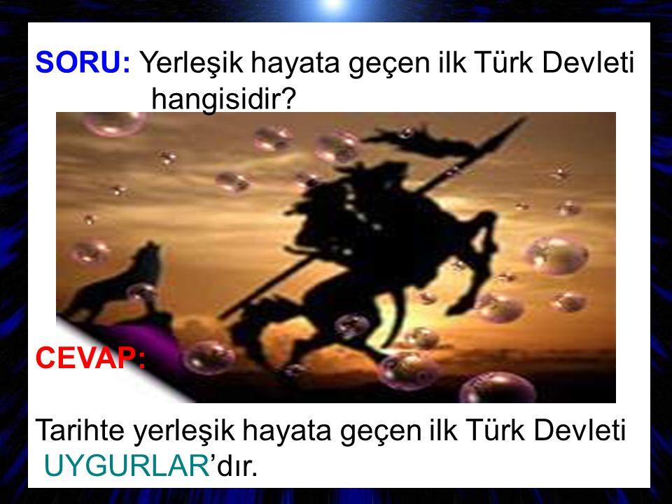 SORU: Yerleşik hayata geçen ilk Türk Devleti