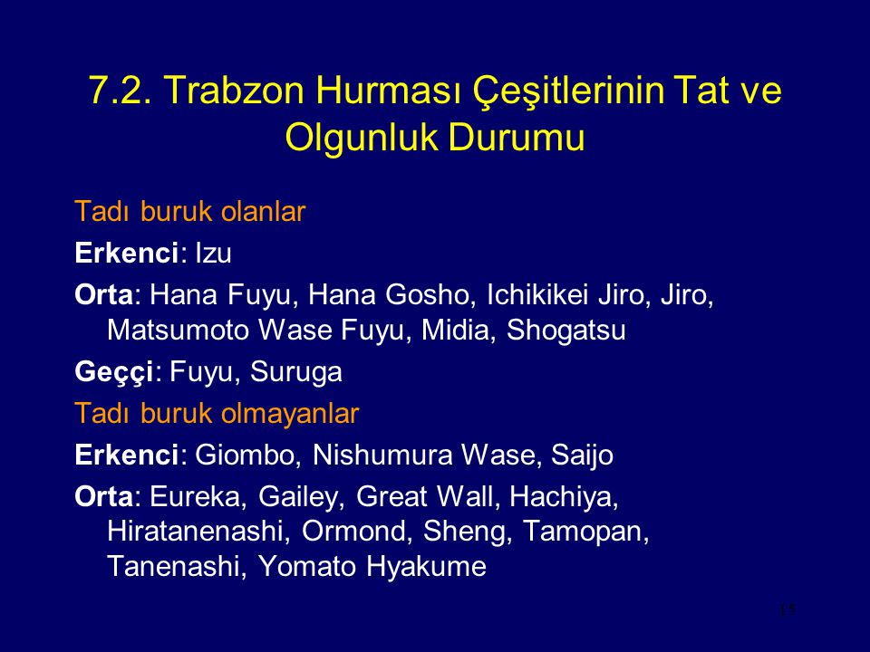 7.2. Trabzon Hurması Çeşitlerinin Tat ve Olgunluk Durumu