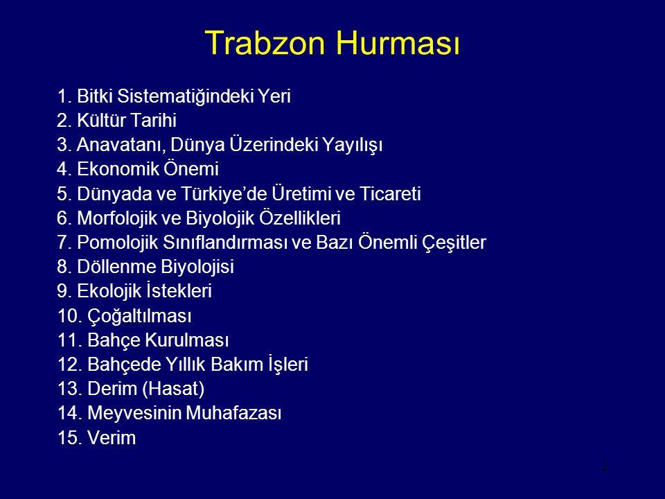 Trabzon Hurması 1. Bitki Sistematiğindeki Yeri 2. Kültür Tarihi