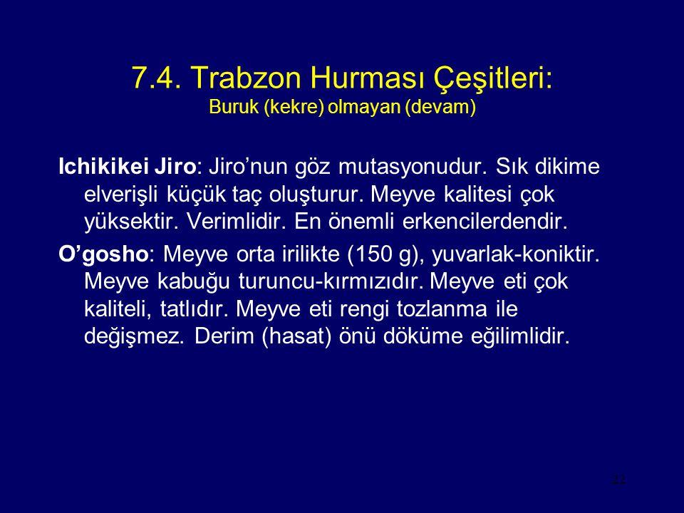 7.4. Trabzon Hurması Çeşitleri: Buruk (kekre) olmayan (devam)