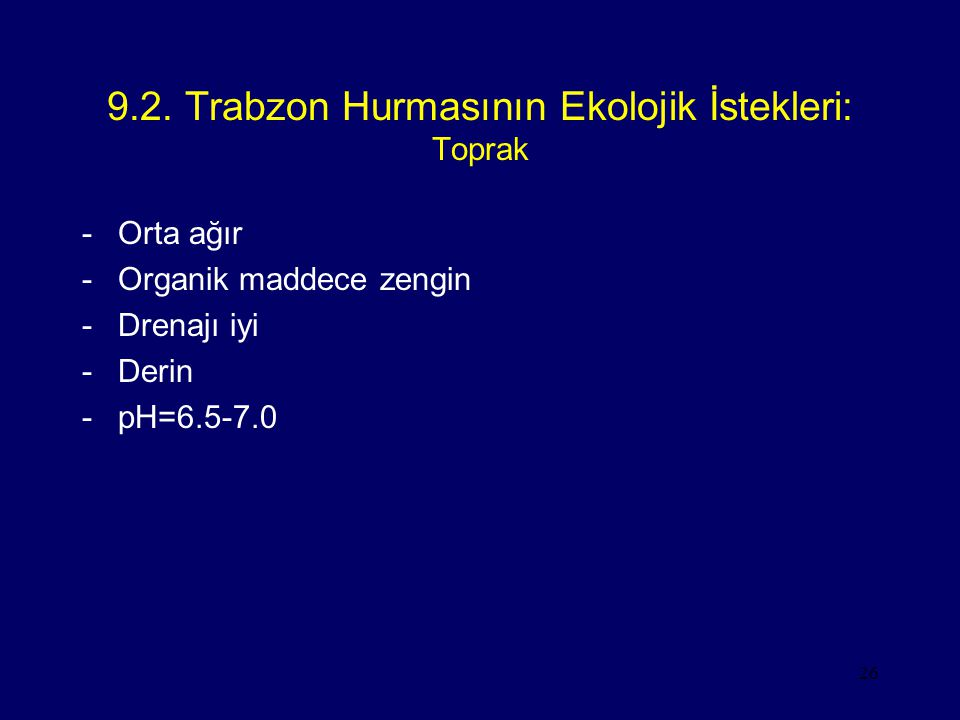 9.2. Trabzon Hurmasının Ekolojik İstekleri: Toprak