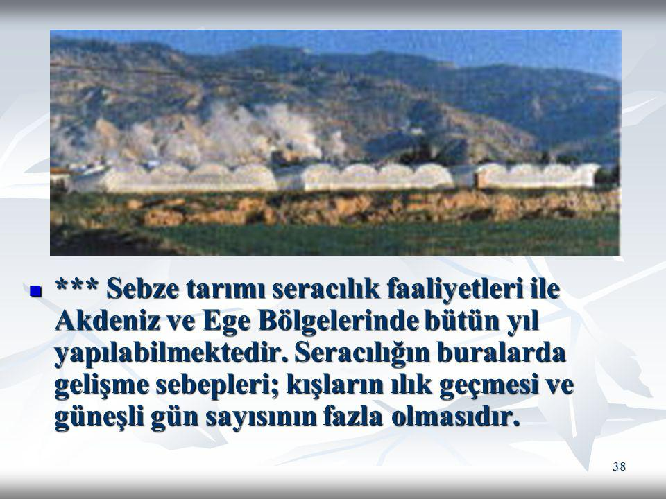 *** Sebze tarımı seracılık faaliyetleri ile Akdeniz ve Ege Bölgelerinde bütün yıl yapılabilmektedir.
