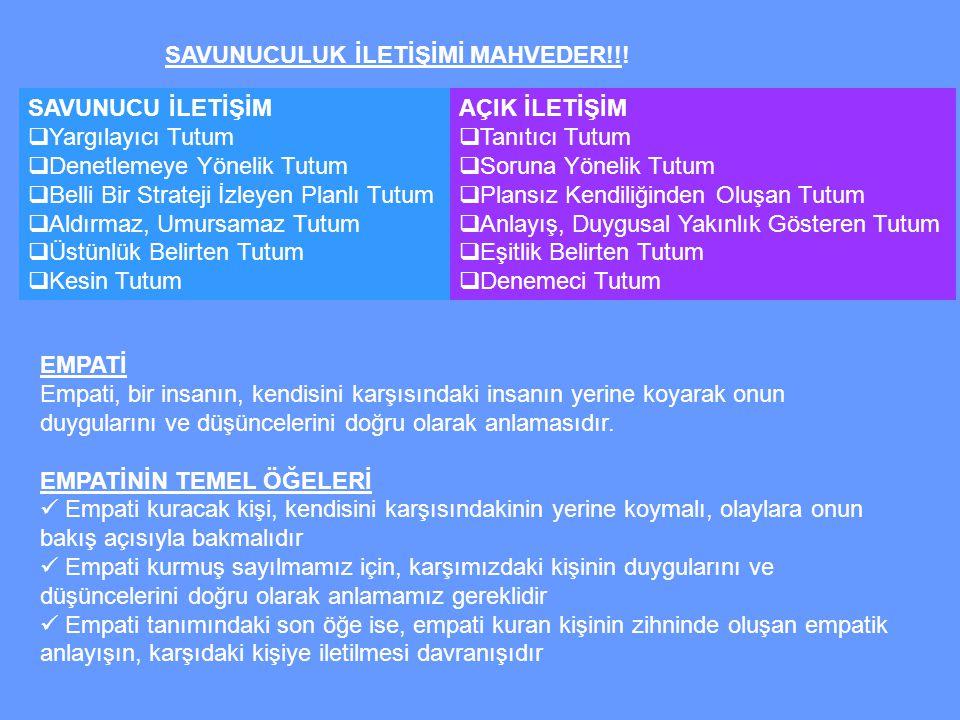 SAVUNUCULUK İLETİŞİMİ MAHVEDER!!!