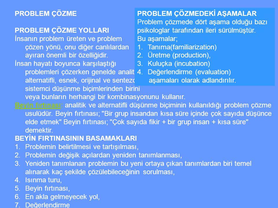 PROBLEM ÇÖZME PROBLEM ÇÖZME YOLLARI. İnsanın problem üreten ve problem çözen yönü, onu diğer canlılardan ayıran önemli bir özelliğidir.