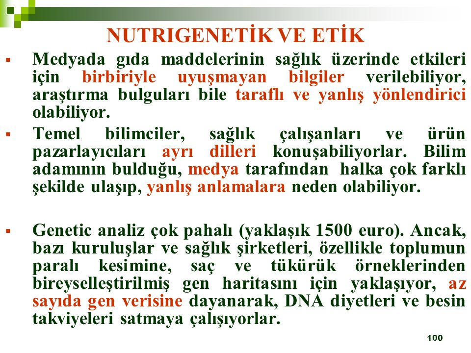 NUTRIGENETİK VE ETİK
