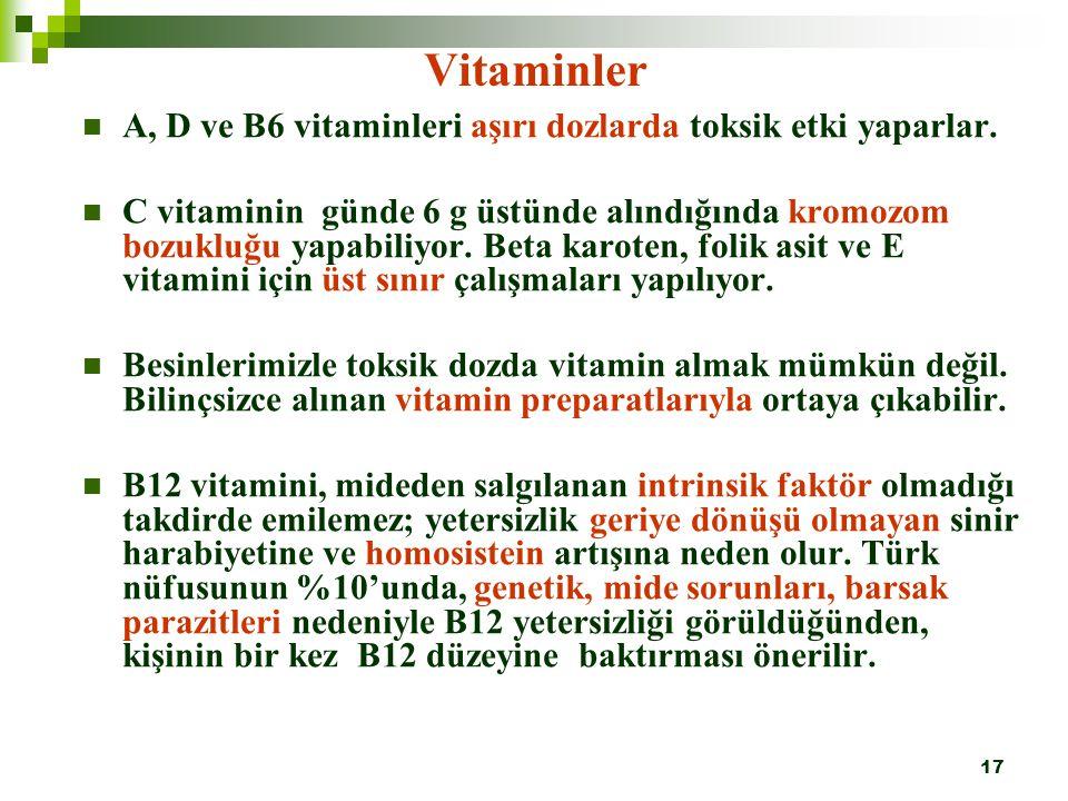 Vitaminler A, D ve B6 vitaminleri aşırı dozlarda toksik etki yaparlar.