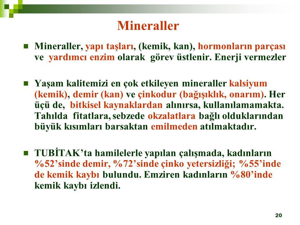 Mineraller Mineraller, yapı taşları, (kemik, kan), hormonların parçası ve yardımcı enzim olarak görev üstlenir. Enerji vermezler.