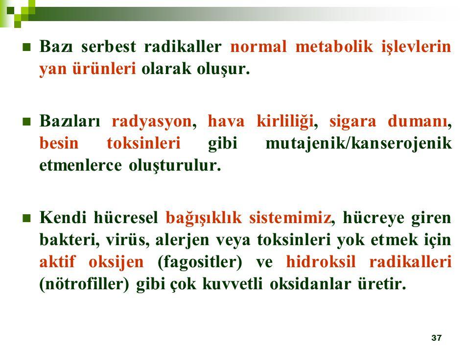Bazı serbest radikaller normal metabolik işlevlerin yan ürünleri olarak oluşur.