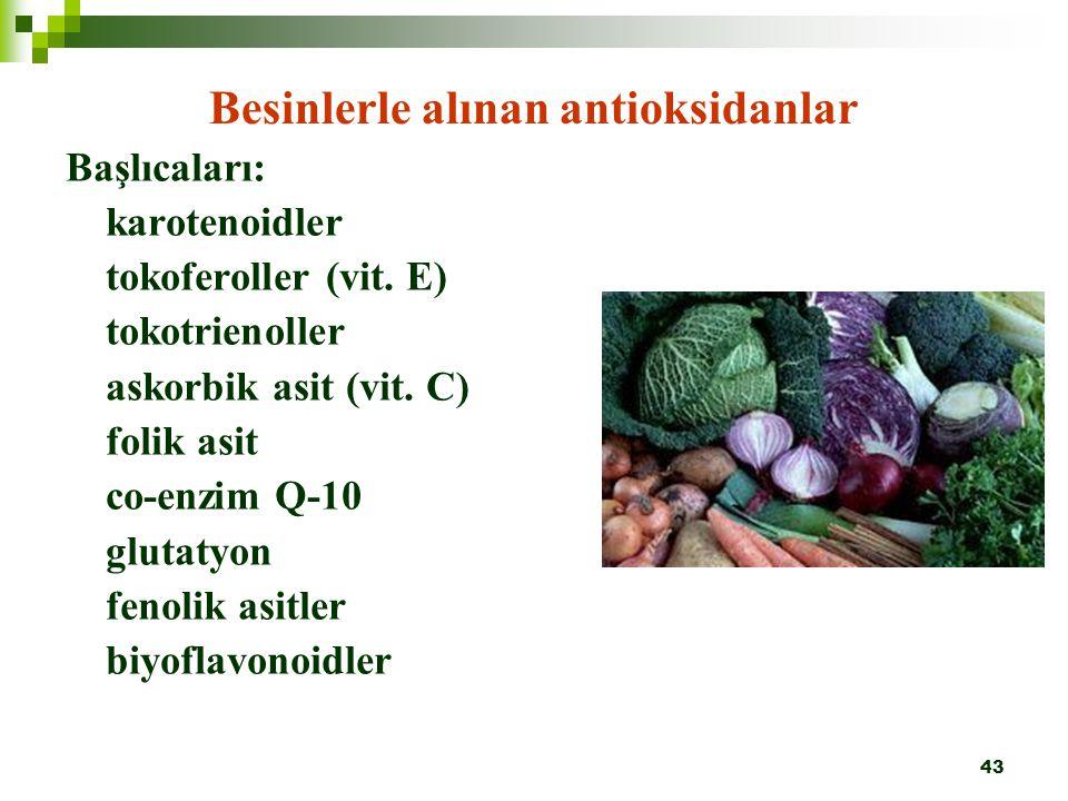 Besinlerle alınan antioksidanlar