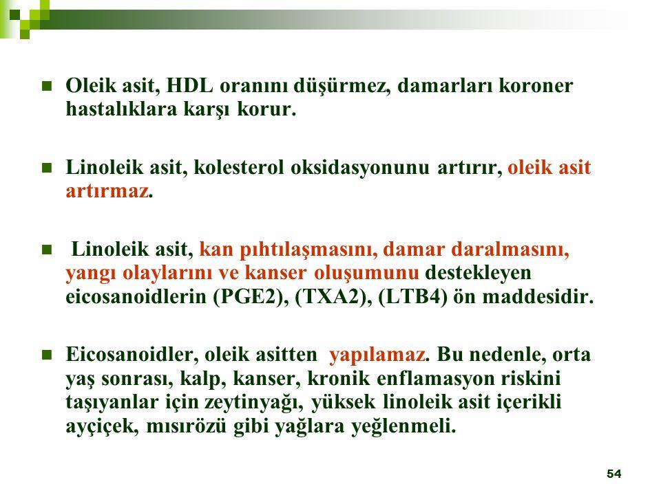 Oleik asit, HDL oranını düşürmez, damarları koroner hastalıklara karşı korur.