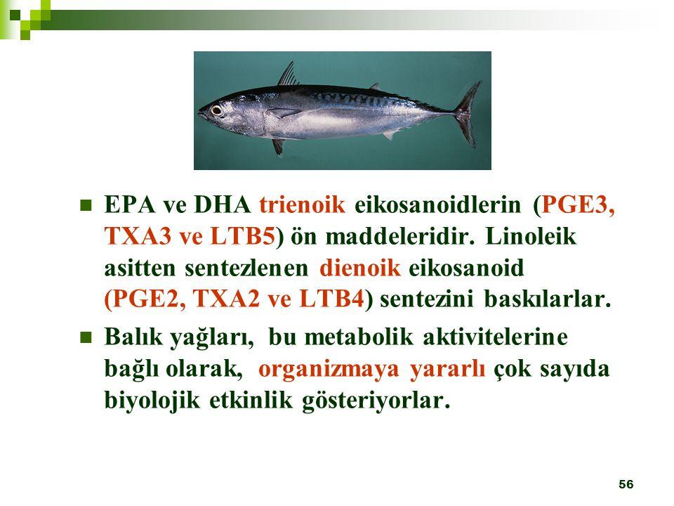 EPA ve DHA trienoik eikosanoidlerin (PGE3, TXA3 ve LTB5) ön maddeleridir. Linoleik asitten sentezlenen dienoik eikosanoid (PGE2, TXA2 ve LTB4) sentezini baskılarlar.