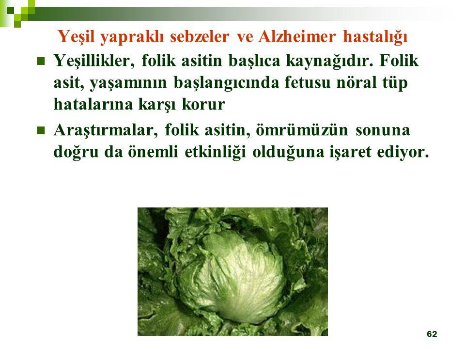 Yeşil yapraklı sebzeler ve Alzheimer hastalığı
