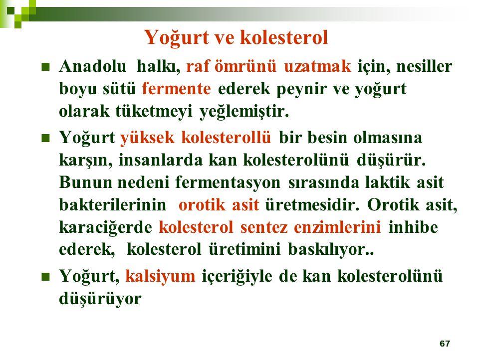 Yoğurt ve kolesterol Anadolu halkı, raf ömrünü uzatmak için, nesiller boyu sütü fermente ederek peynir ve yoğurt olarak tüketmeyi yeğlemiştir.