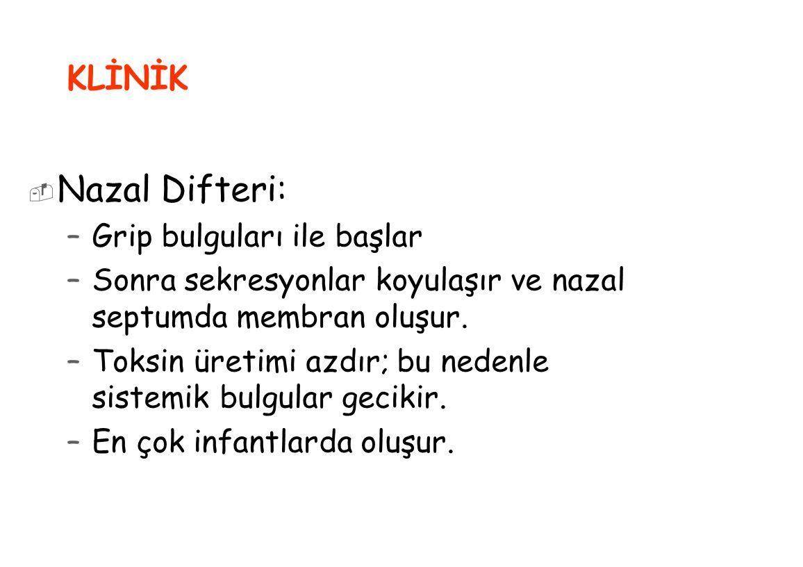 Nazal Difteri: KLİNİK Grip bulguları ile başlar