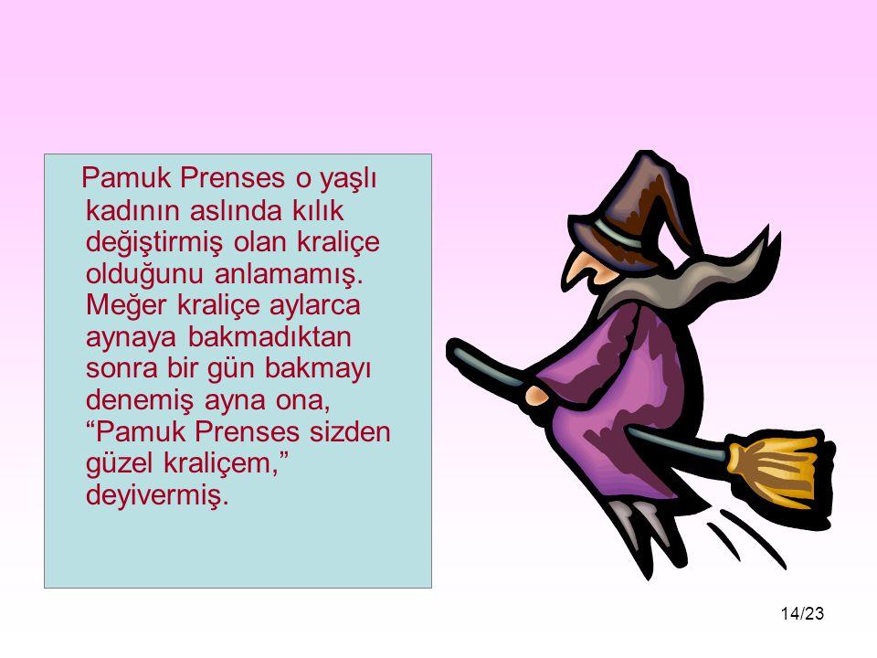 Pamuk Prenses o yaşlı kadının aslında kılık değiştirmiş olan kraliçe olduğunu anlamamış.