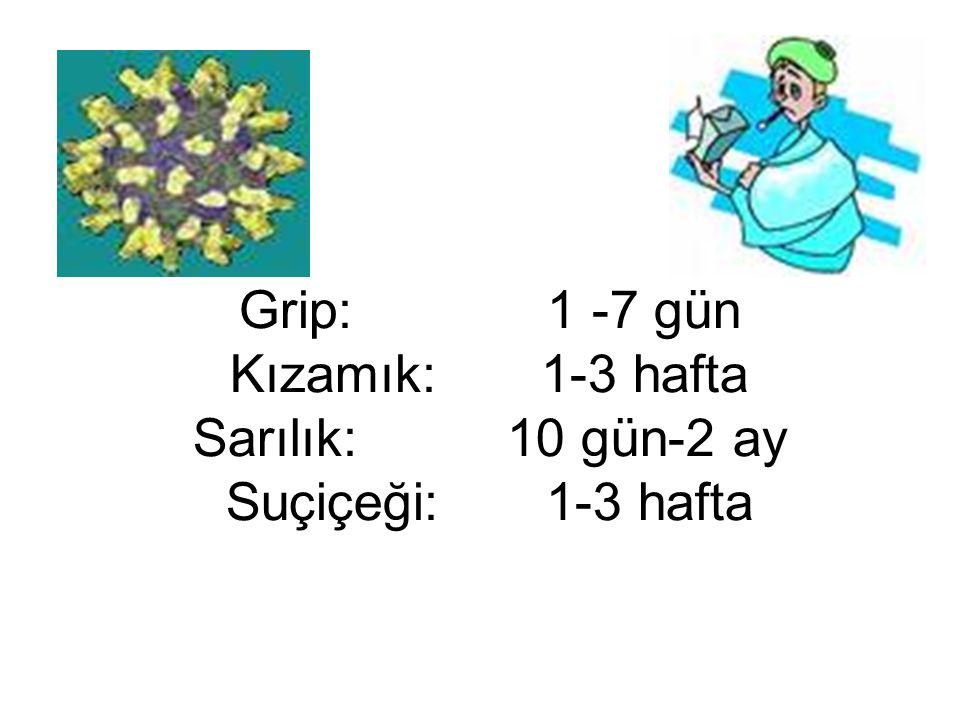 Grip: 1 -7 gün Kızamık: 1-3 hafta Sarılık: 10 gün-2 ay Suçiçeği: 1-3 hafta