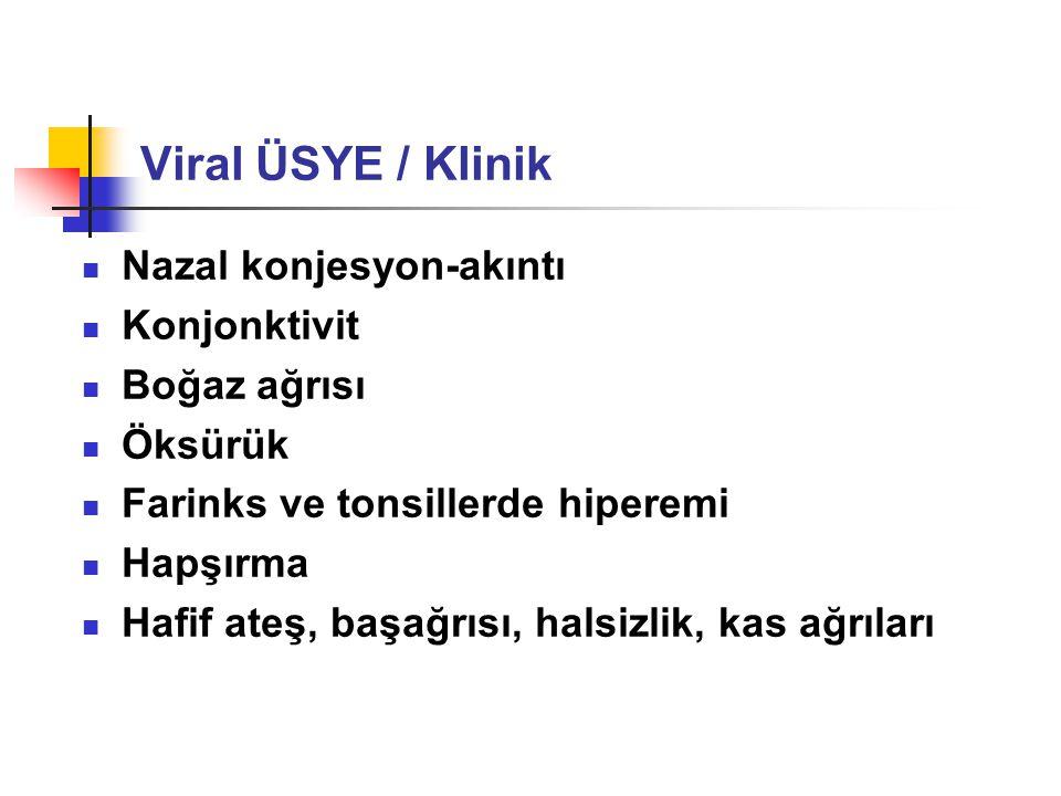 Viral ÜSYE / Klinik Nazal konjesyon-akıntı Konjonktivit Boğaz ağrısı
