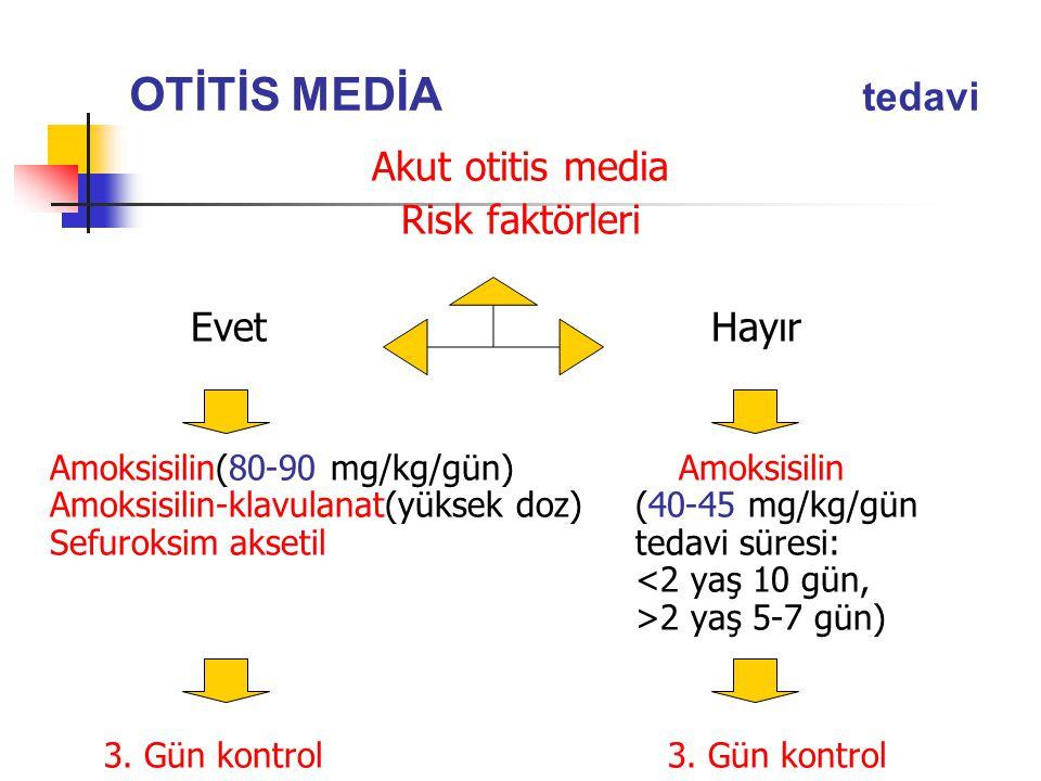 OTİTİS MEDİA tedavi Akut otitis media Risk faktörleri Evet Hayır