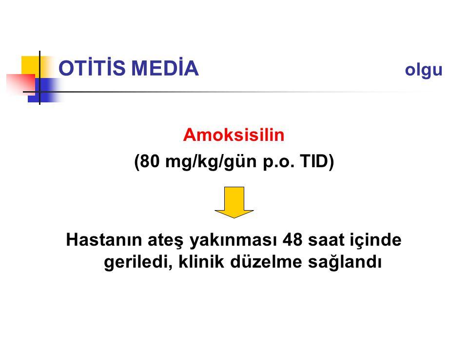 OTİTİS MEDİA olgu Amoksisilin (80 mg/kg/gün p.o. TID)