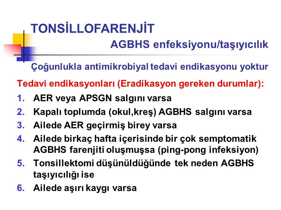 TONSİLLOFARENJİT AGBHS enfeksiyonu/taşıyıcılık