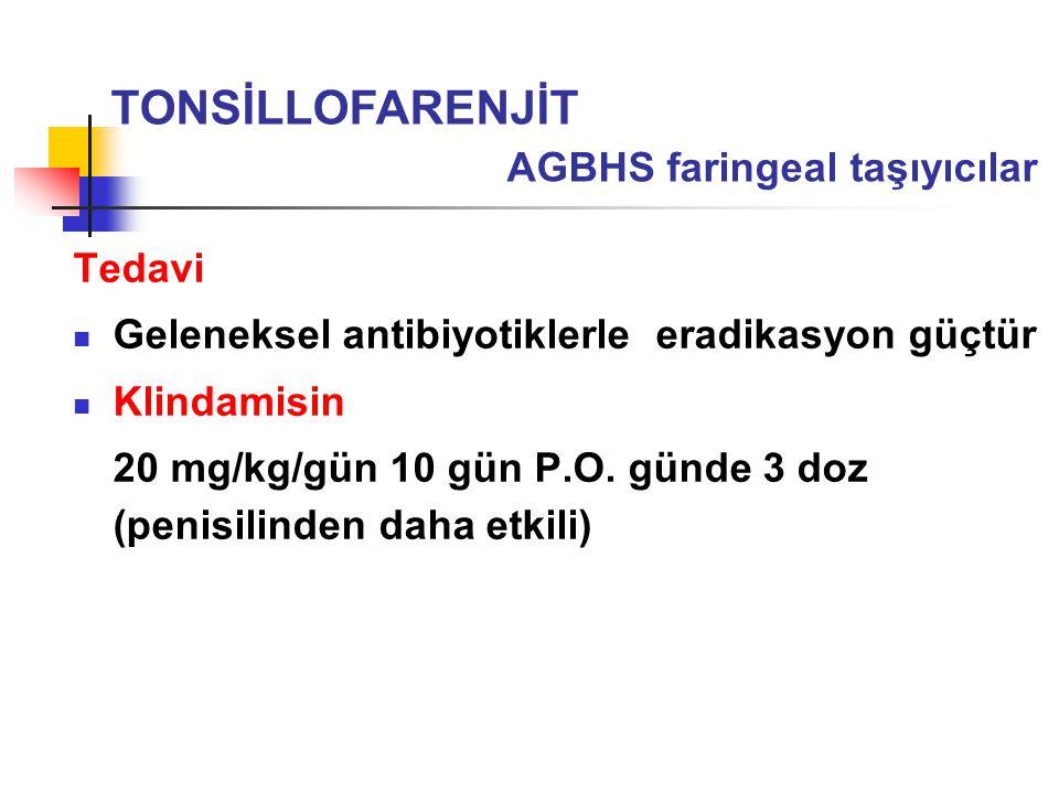 TONSİLLOFARENJİT AGBHS faringeal taşıyıcılar