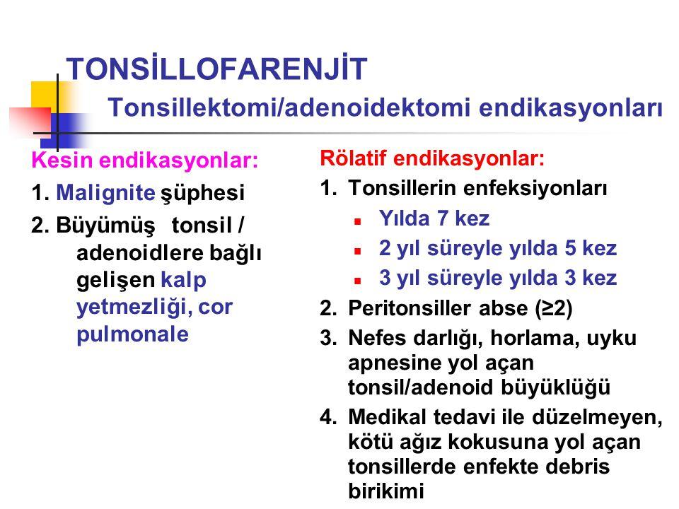 TONSİLLOFARENJİT Tonsillektomi/adenoidektomi endikasyonları