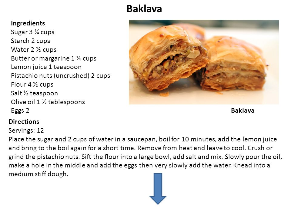 Baklava Ingredients Sugar 3 ¼ cups Starch 2 cups Water 2 ½ cups