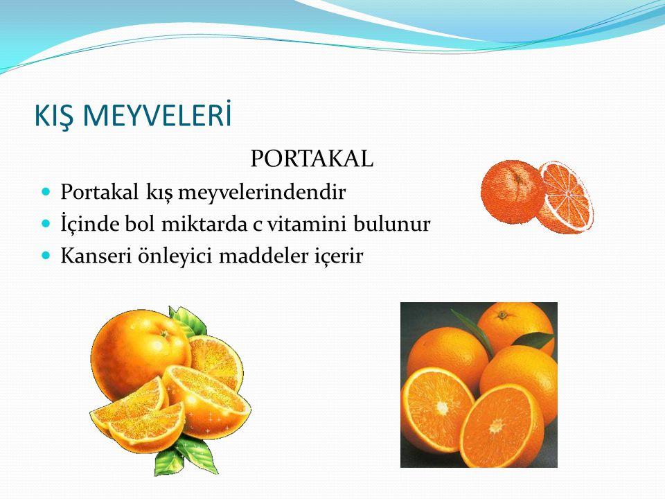 KIŞ MEYVELERİ PORTAKAL Portakal kış meyvelerindendir