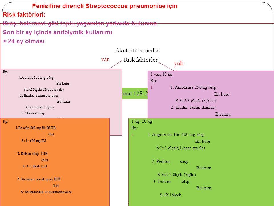 Amoksisilin (40-45 mg/kg/gün)