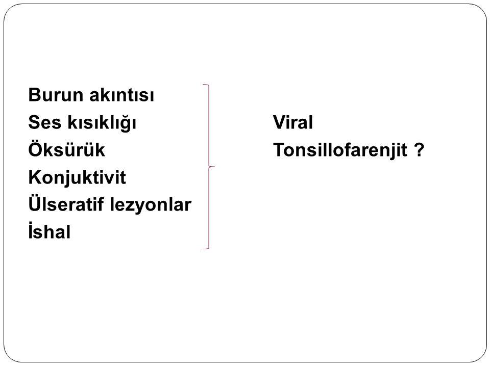 Burun akıntısı Ses kısıklığı Viral. Öksürük Tonsillofarenjit Konjuktivit. Ülseratif lezyonlar.
