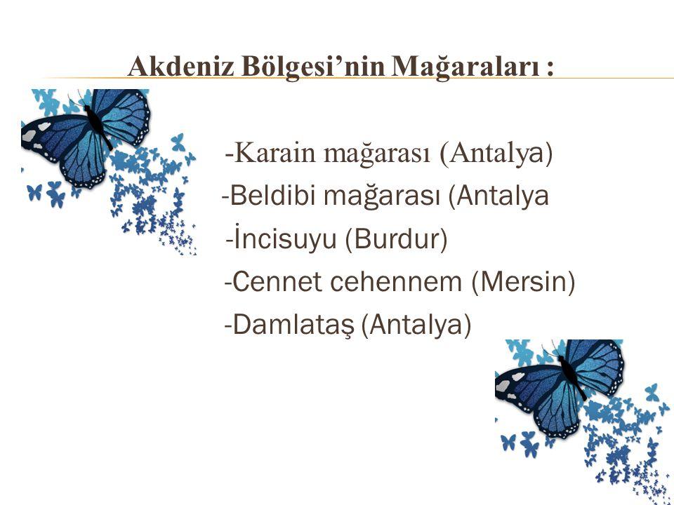 Akdeniz Bölgesi'nin Mağaraları : -Karain mağarası (Antalya) -Beldibi mağarası (Antalya -İncisuyu (Burdur) -Cennet cehennem (Mersin) -Damlataş (Antalya)