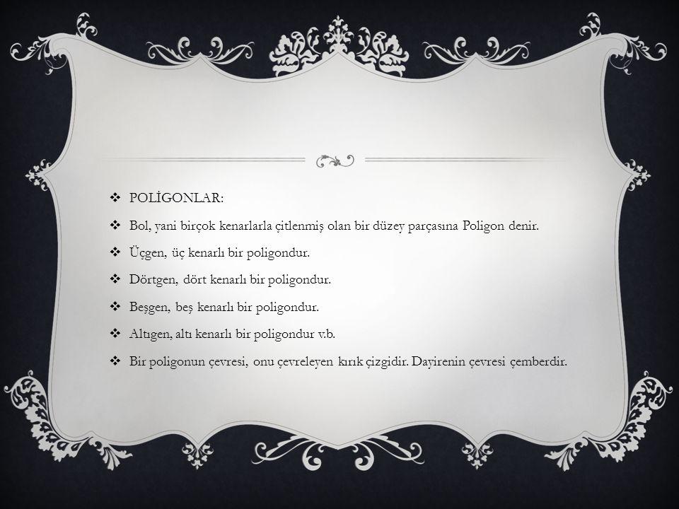 POLİGONLAR: Bol, yani birçok kenarlarla çitlenmiş olan bir düzey parçasına Poligon denir. Üçgen, üç kenarlı bir poligondur.