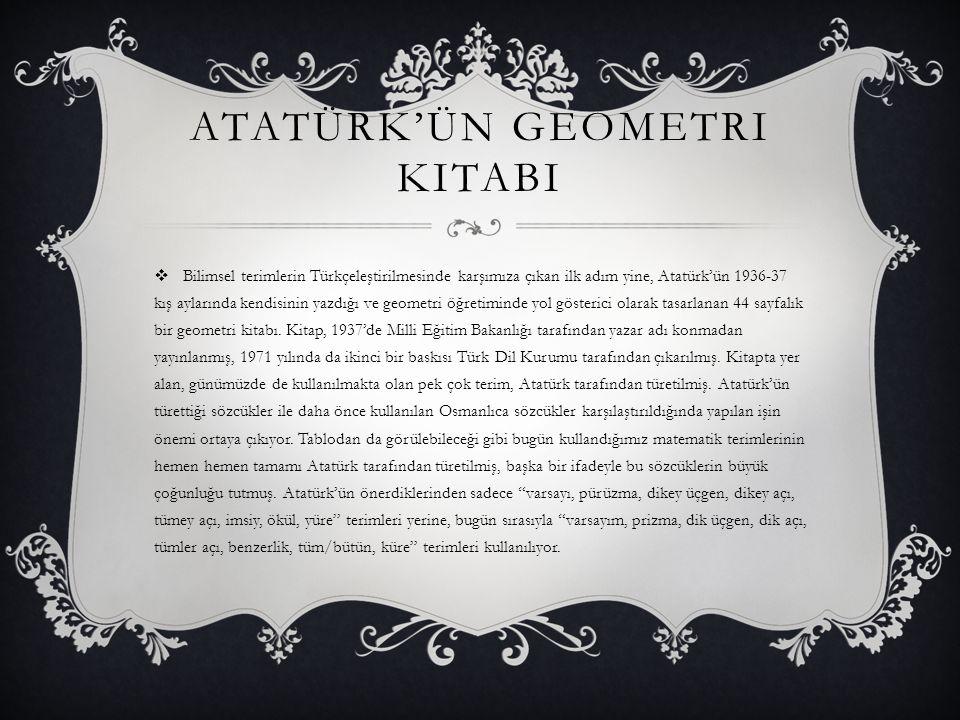 Atatürk'ün Geometri kitabI