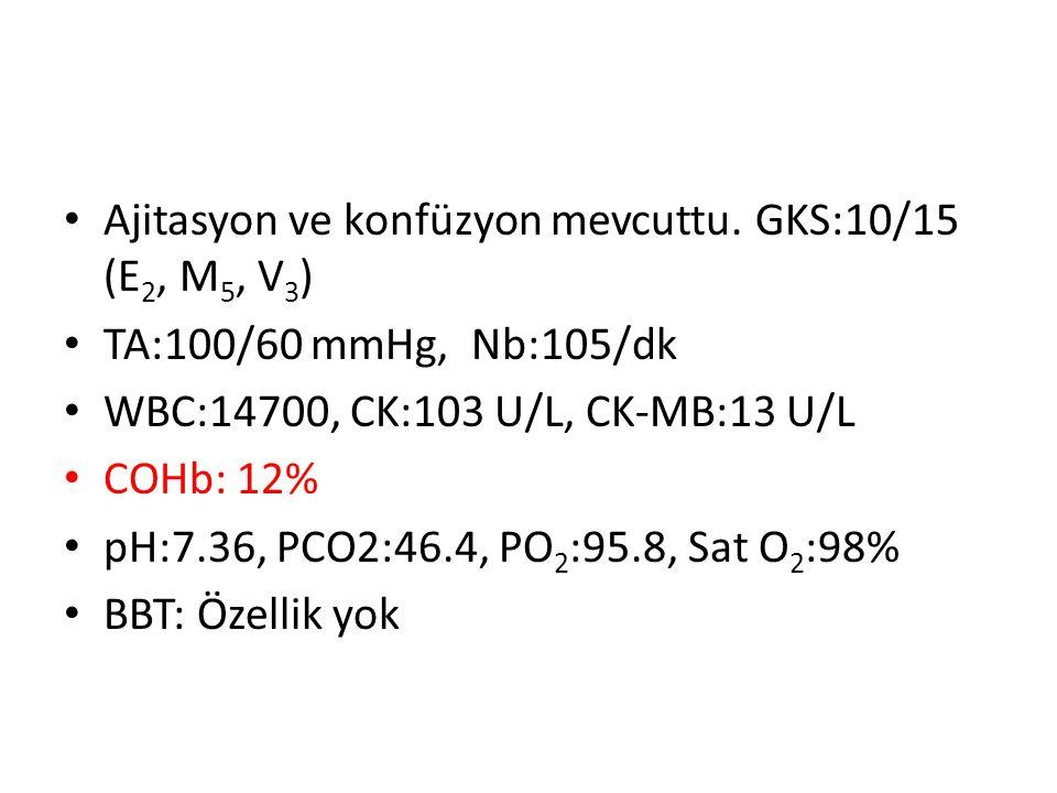 Ajitasyon ve konfüzyon mevcuttu. GKS:10/15 (E2, M5, V3)