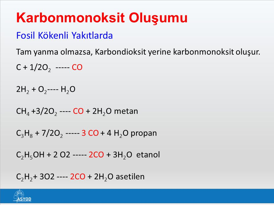 Karbonmonoksit Oluşumu