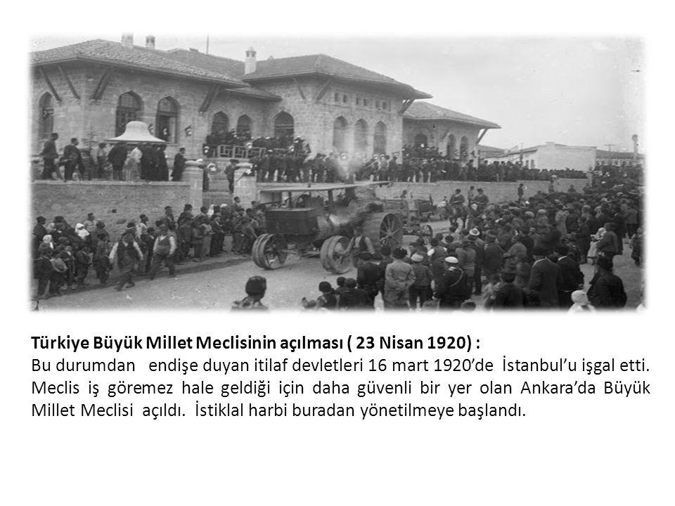 Türkiye Büyük Millet Meclisinin açılması ( 23 Nisan 1920) :