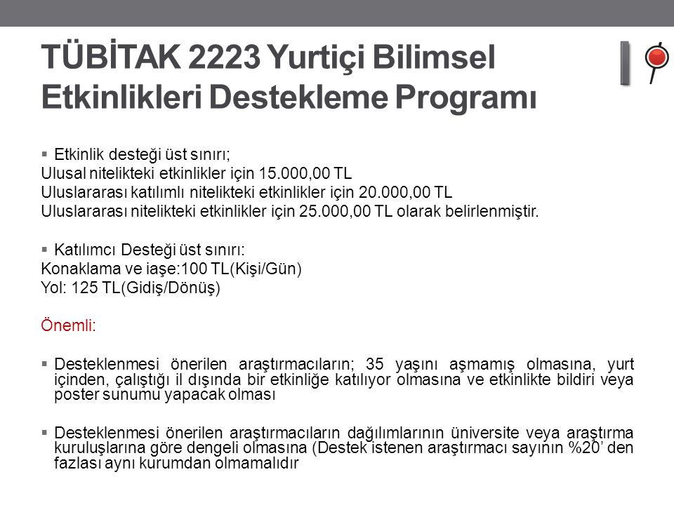 TÜBİTAK 2223 Yurtiçi Bilimsel Etkinlikleri Destekleme Programı