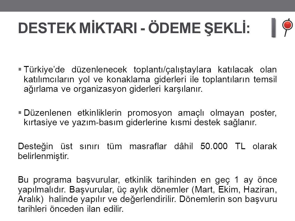 DESTEK MİKTARI - ÖDEME ŞEKLİ: