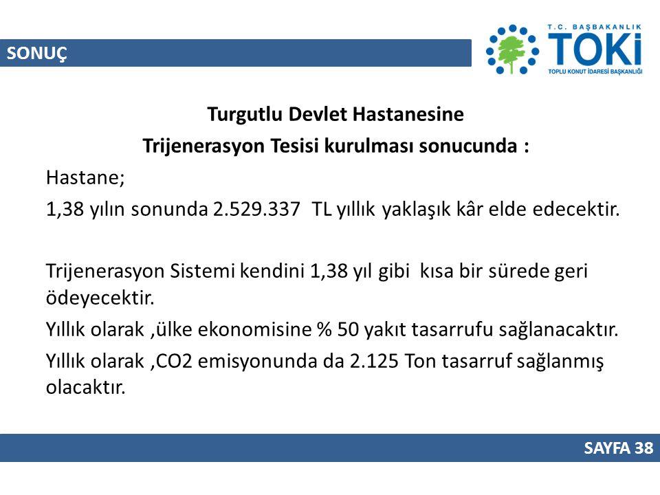 Turgutlu Devlet Hastanesine Trijenerasyon Tesisi kurulması sonucunda :